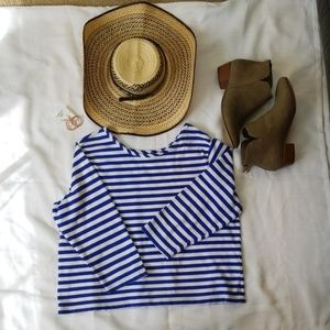 Ralph Lauren stripe white and blue mid sleeve top